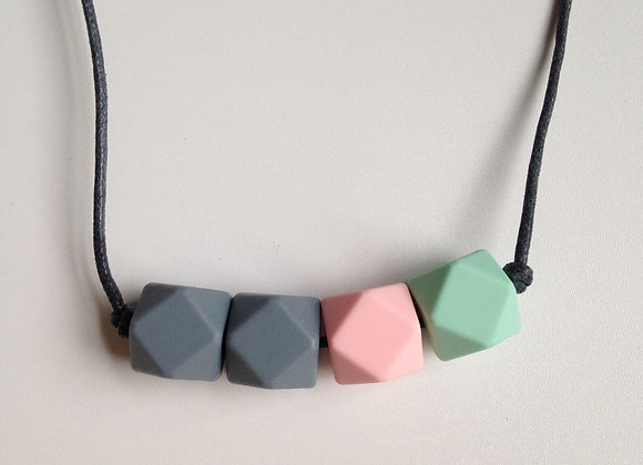 Mint green, pale pink and grey hexagon bead teething necklace