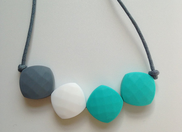 Grey, White and Turquoise quadrate teething bead necklace