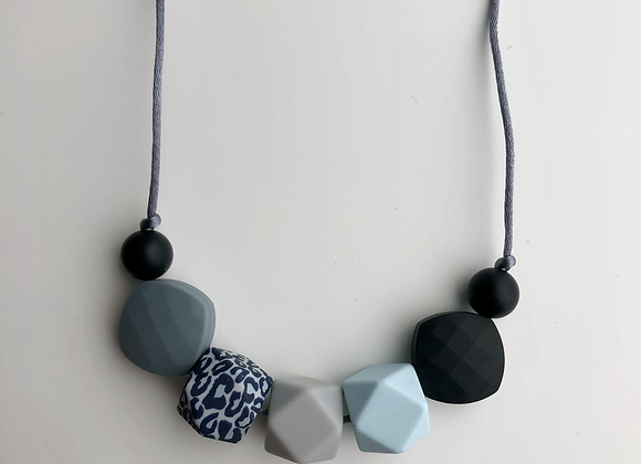 Leopard 7 bead Teething Necklace - grey cord and clasp