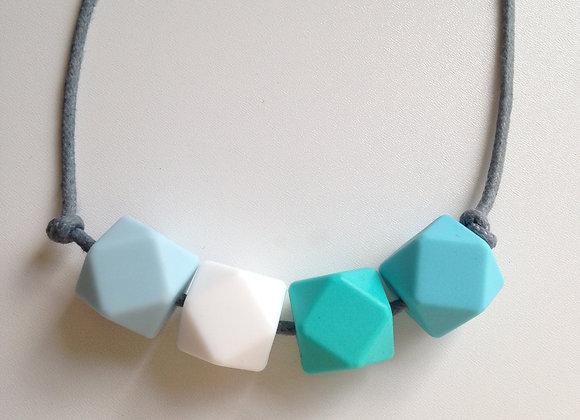 Ice blue, snow white, turquoise & azure hexagon bead teething necklace