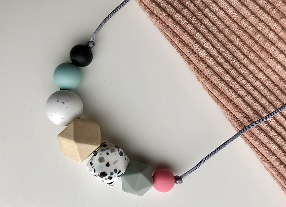 Terrazzo 7 bead Teething Necklace - grey cord and clasp