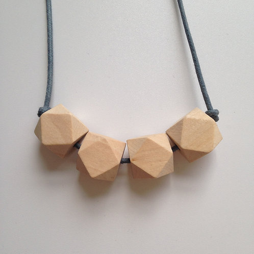 Wooden hexagon bead teething necklace (Grey cord)