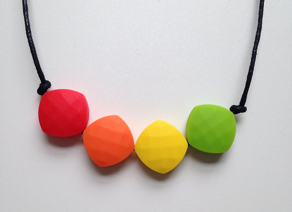 Red, Orange, Yellow and Chartreuse quadrate teething bead necklace