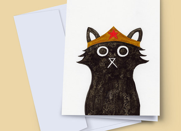 Wonder Cat greeting card with handwritten message