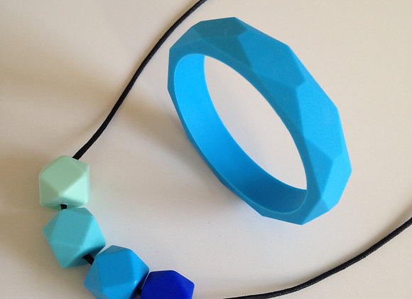 Aqua Blue teething jewellery set
