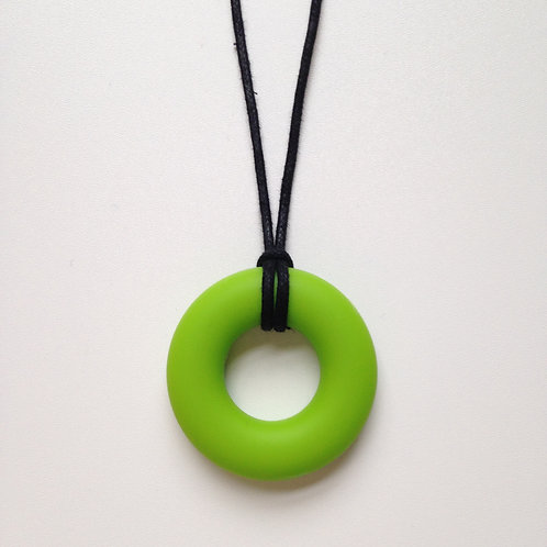 Chartreuse green doughnut teething pendant