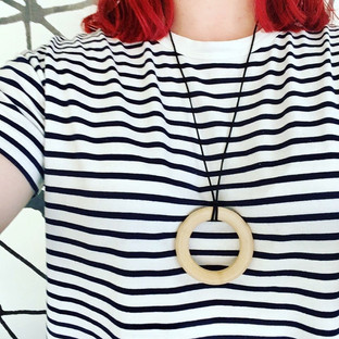 Organic hardwood teething ring necklace