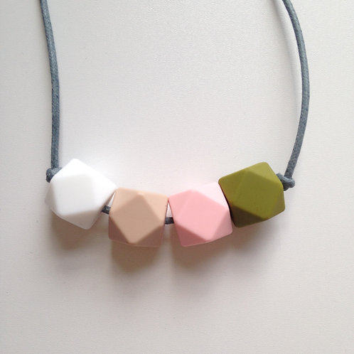 Snow white, oatmeal, pale pink & khaki hexagon bead teething necklace