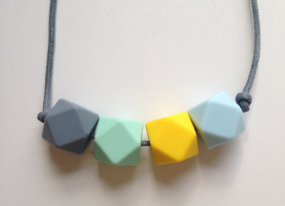 Grey, mint green, yellow & ice blue hexagon bead teething necklace