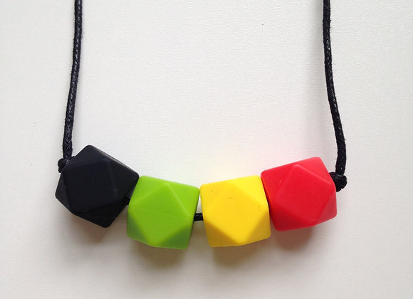 Black, green, yellow & red hexagon bead teething necklace