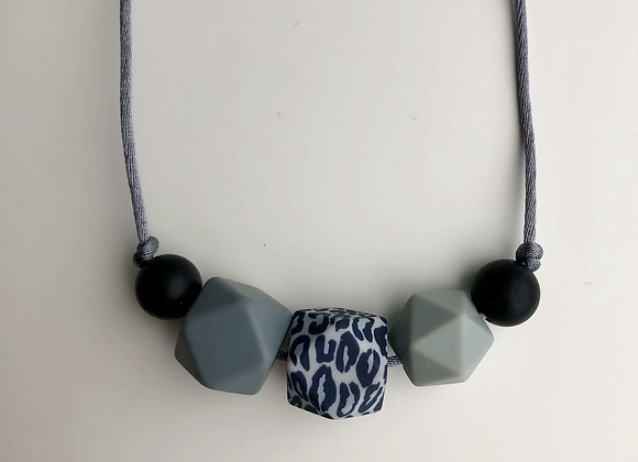 Leopard 5 bead Teething Necklace - grey cord and clasp