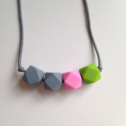Grey, pink & chartreuse hexagon bead teething necklace