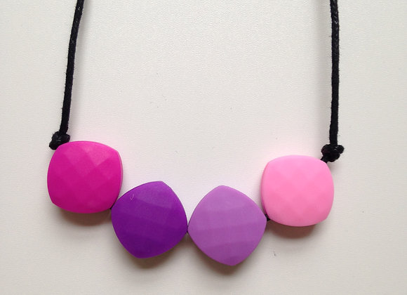 Fuchsia, Purple, Lilac and Pink quadrate teething bead necklace