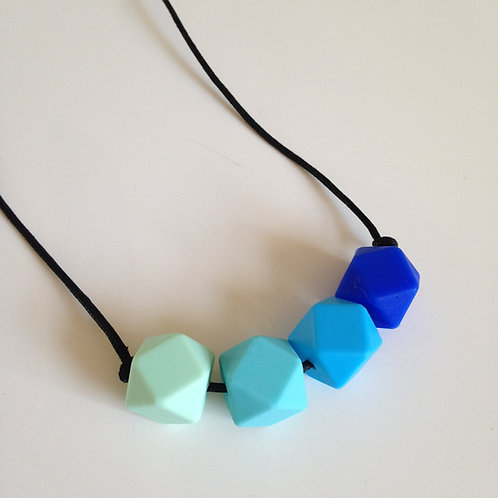 Mint green, turquoise, sky blue & ultramarine hexagon bead teething necklace