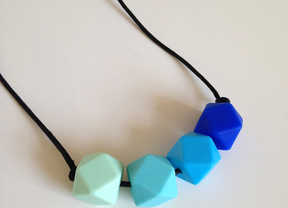 Mint green, turquoise, sky blue & ultramarine hexagon bead teething necklace