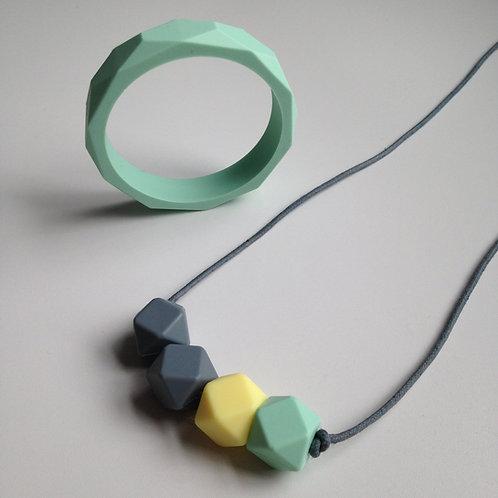 Mint green teething jewellery set