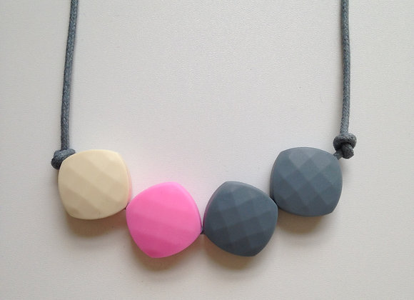 Latte, Pink and Grey quadrate teething bead necklace