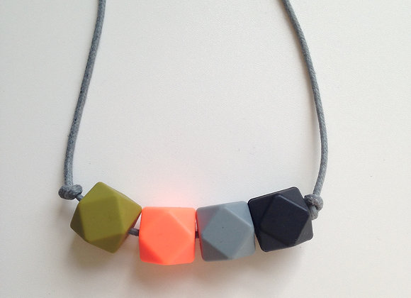 Khaki, neon orange, grey & black hexagon bead teething necklace