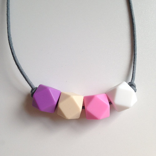 Lilac, oatmeal, pink & snow white hexagon bead teething necklace