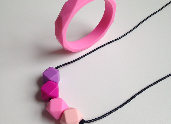 Candy Floss teething jewellery set
