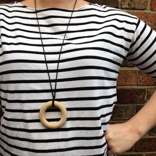 Organic Untreated Hardwood Teething Ring Necklace