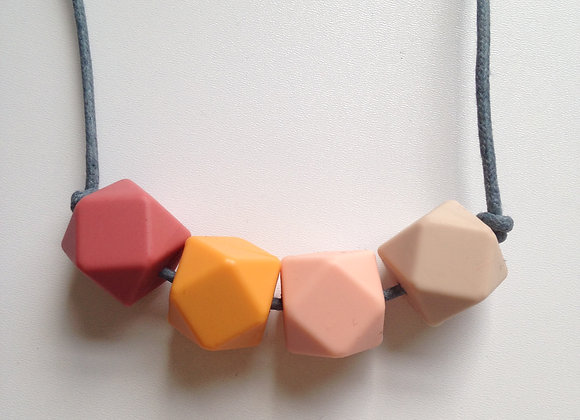 Maroon, apricot, pale pink & oatmeal hexagon bead teething necklace
