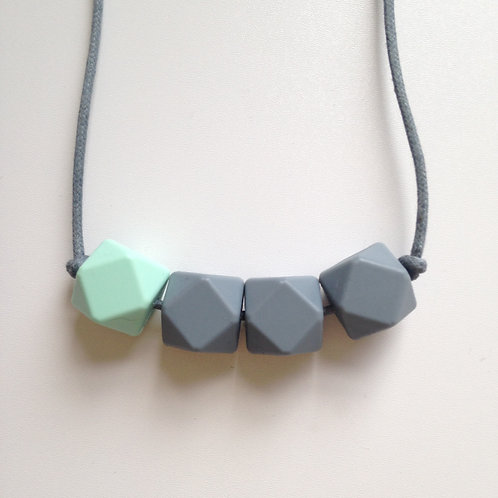 Mint green and grey hexagon bead teething necklace