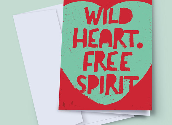 Wild Heart, Free Spirit greeting card with handwritten message