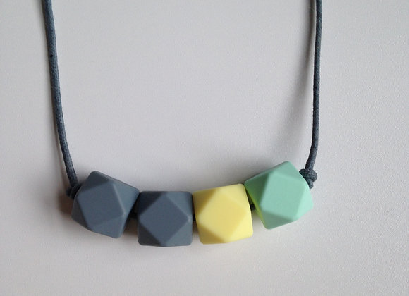 Mint green, pale yellow and grey hexagon bead teething necklace