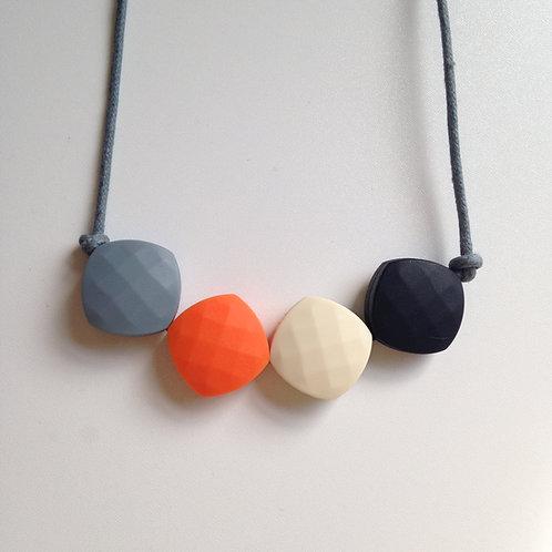 Grey, orange, latte & black quadrate teething bead necklace