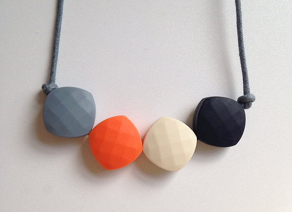 Grey, Orange, Latte and Black quadrate teething bead necklace