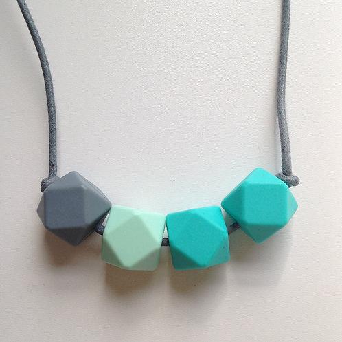 Grey, mint green & turquoise hexagon bead teething necklace