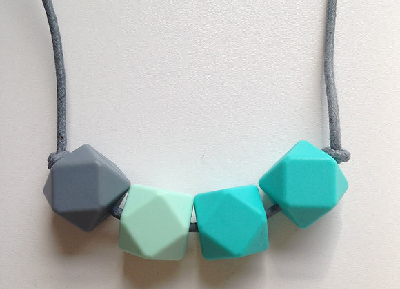 Grey, mint green & turquoise hexagon bead teething necklace