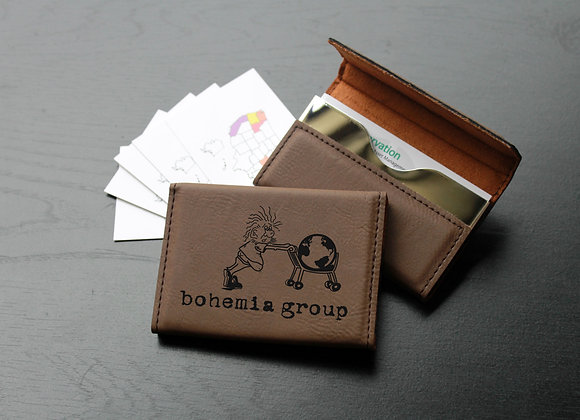 Dark Brown Leather Business Card Holder