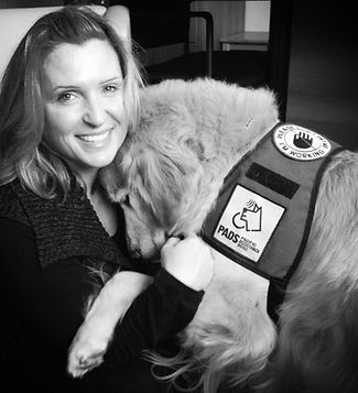 Dawn Holt Clinical Counsellor and Mac Therapy Dog