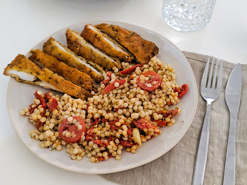 Crumbed Chicken Pearl Couscous Salad, serves 2