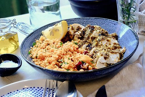 Dukkha Chicken & Mediterranean Couscous (df), serves 2