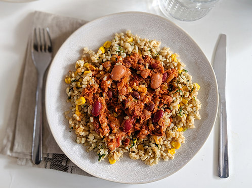 Vegetarian Chilli Con Carne & Mexican Rice (veg, gf), serves 2