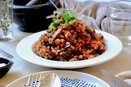 Vegan Italian skillet w/ grains, vegetables & marinara sauce (df), serves 2