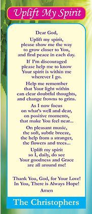 for web pg 1 Uplift my spirit Prayer Car
