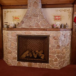 Finished fireplace at German restaurant