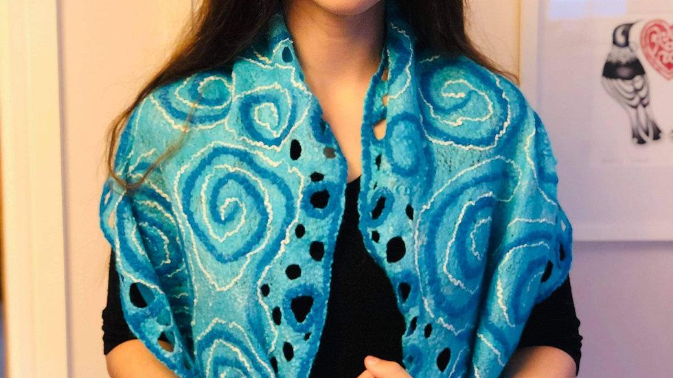 'Blue' Felted scarf
