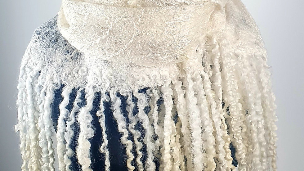 """""""Snow"""" Cobweb felted scarf"""