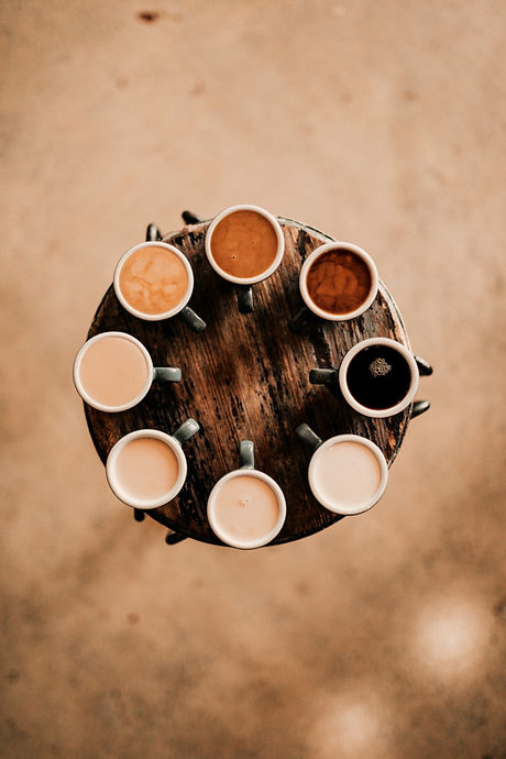 flat lay photography of eight coffee lat