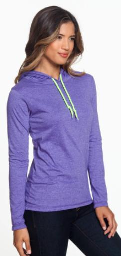 A887L: Ladies' Lightweight Long-Sleeve Hooded T-Shirt