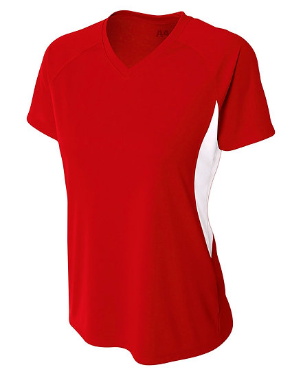 NW3223: A4 Ladies' Color Block Performance V-Neck T-Shirt
