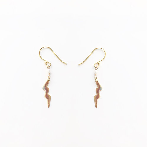 Gold Lightning Earrings - 14k