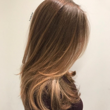 Very subtle face framing copper balayage
