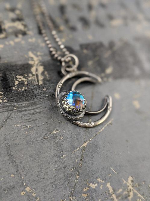 Crescent Gem Drop Necklace - Aura Quartz