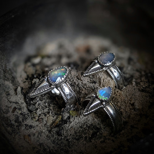 Opal Valkyrie Inspired Ring - Rune Stamped Band